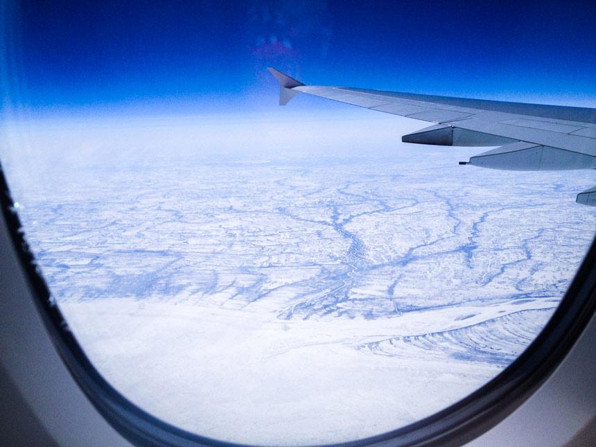 Vue depuis l'avion vol Paris-SF
