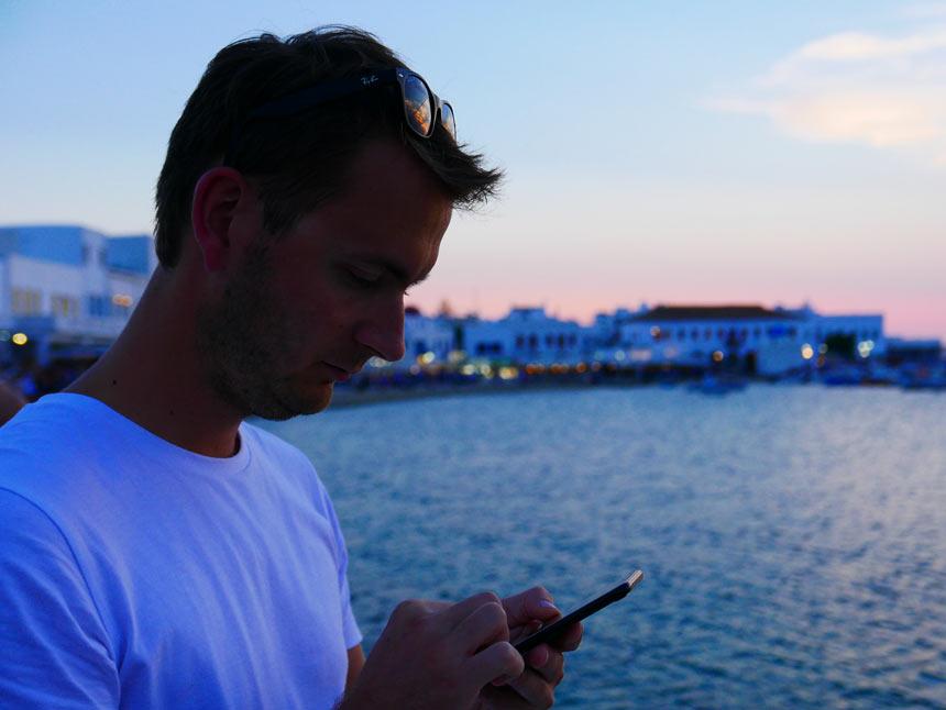 Port de Mykonos le soir
